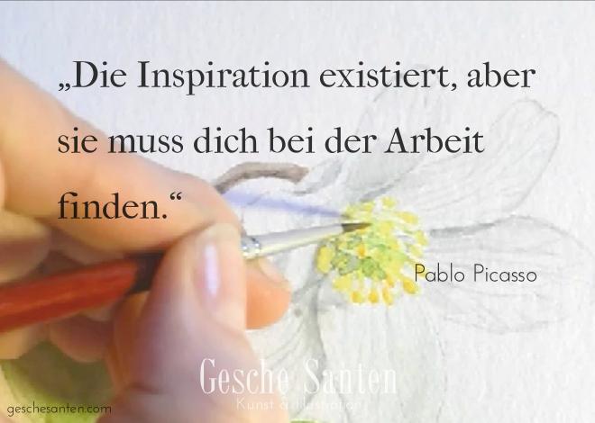 Was tun bei kreativer Ideenlosigkeit? -2 Wege aus dem Inspirationstief , Picasso Zitat Inspiration
