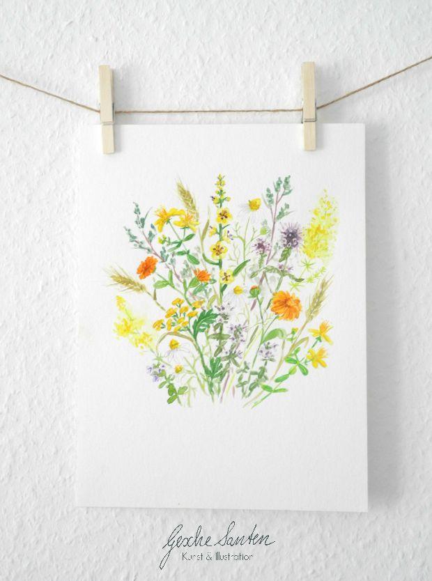 Wildblumen Aquarell| Gesche Santen Blog