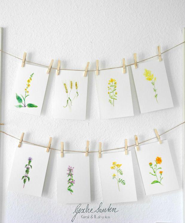 Wildblumen Aquarelle | Gesche Santen Blog