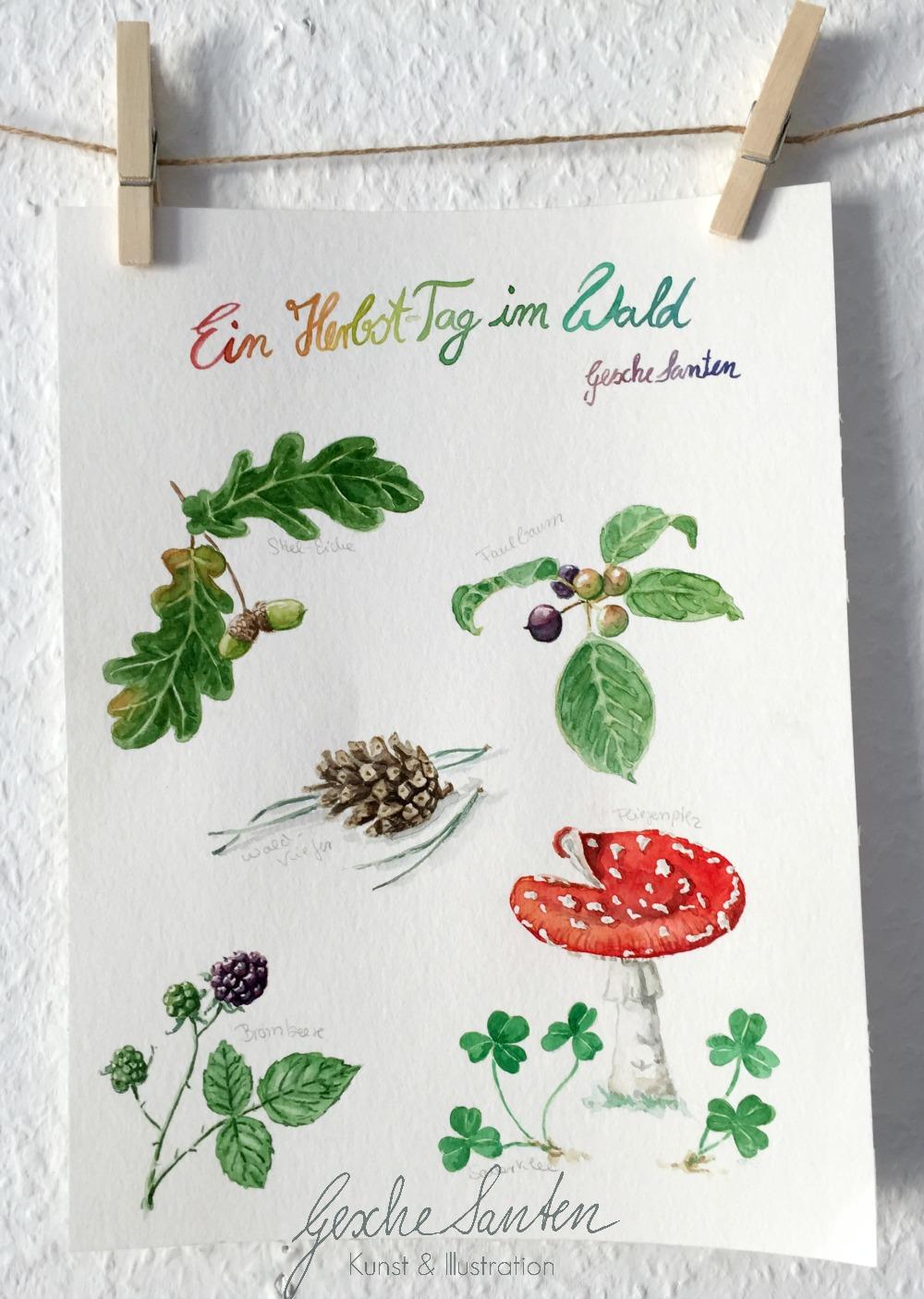 Ein herbsttag im Wald, Illustration Schritt für Schritt, Inspiration Natur, Aquarell
