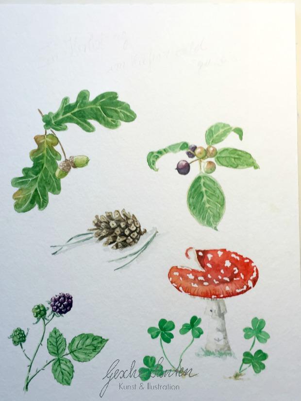 Aquarell Illustration Wald, Herbst, Schritt für Schritt