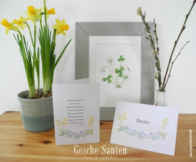 Freebie Postkarten, Printable Frühjahr, Aquarell