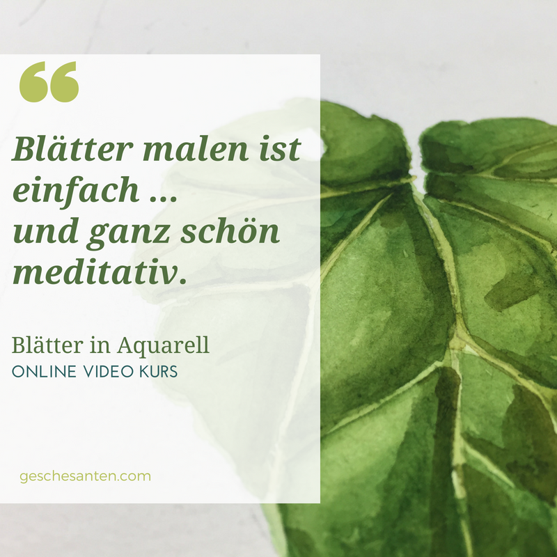 Blätter malen in Aquarell