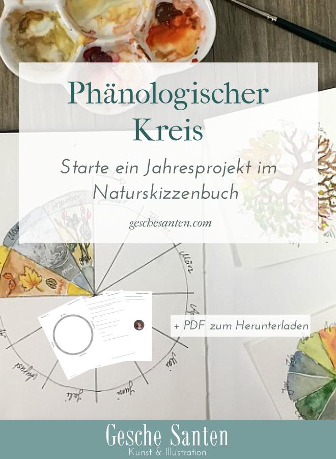 Phänologischer Kreis - Ein Jahresprojekt für Dein Skizzenbuch. Beobachte die Natur und male sie.