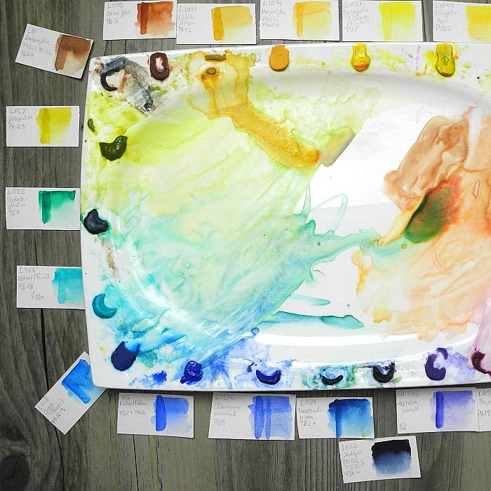 Meine Aquarellpalette- Vom Metallkasten zum Porzellanteller + Liste mit meinen Lieblings-Farbtönen